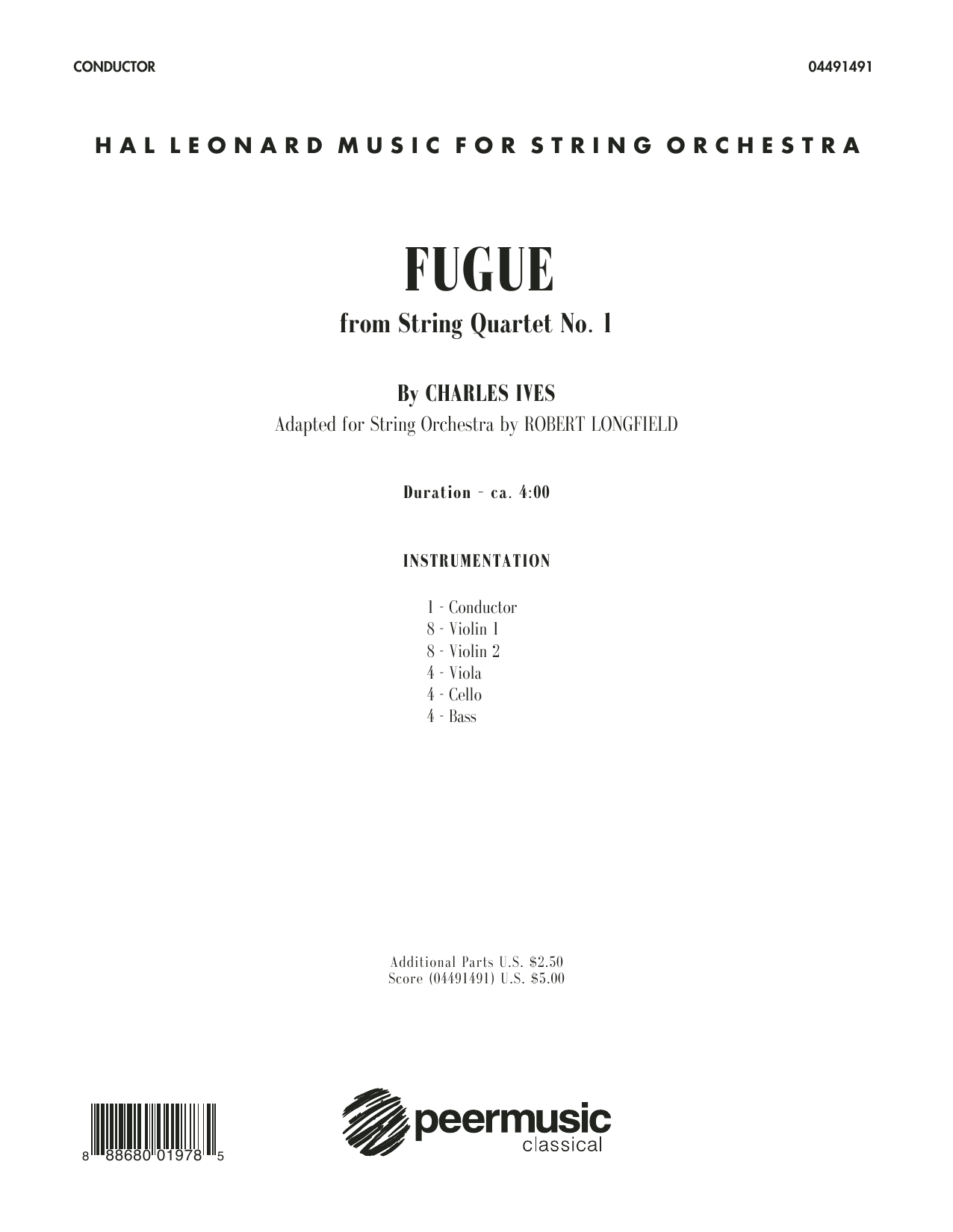 Robert Longfield Fugue from String Quartet No. 1 - Conductor Score (Full Score) sheet music notes and chords. Download Printable PDF.