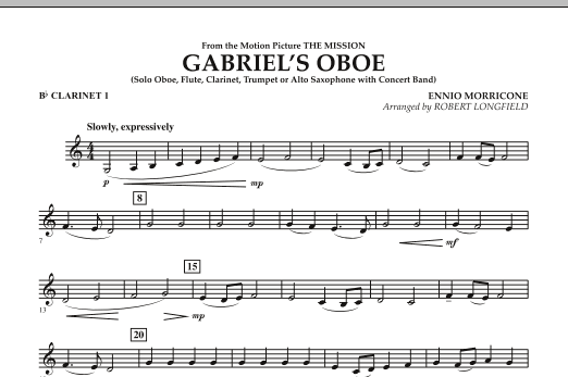 Robert Longfield Gabriel's Oboe (from The Mission) - Bb Clarinet 1 sheet music notes and chords. Download Printable PDF.