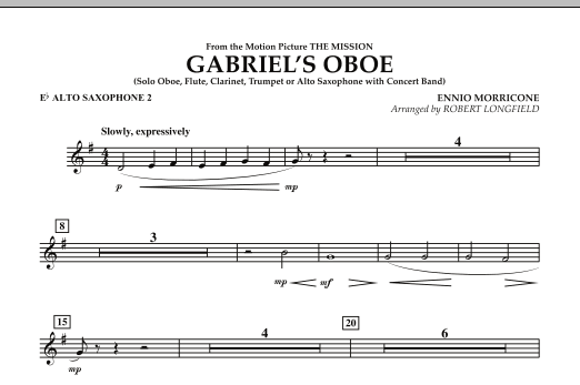Robert Longfield Gabriel's Oboe (from The Mission) - Eb Alto Saxophone 2 sheet music notes and chords. Download Printable PDF.