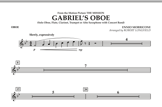 Robert Longfield Gabriel's Oboe (from The Mission) - Oboe sheet music notes and chords. Download Printable PDF.