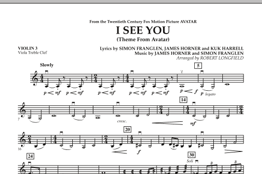 Robert Longfield I See You (Theme from Avatar) - Violin 3 (Viola Treble Clef) sheet music notes and chords. Download Printable PDF.
