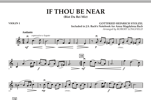 Robert Longfield If Thou Be Near (Bist Du bei Mir) - Violin 1 sheet music notes and chords. Download Printable PDF.