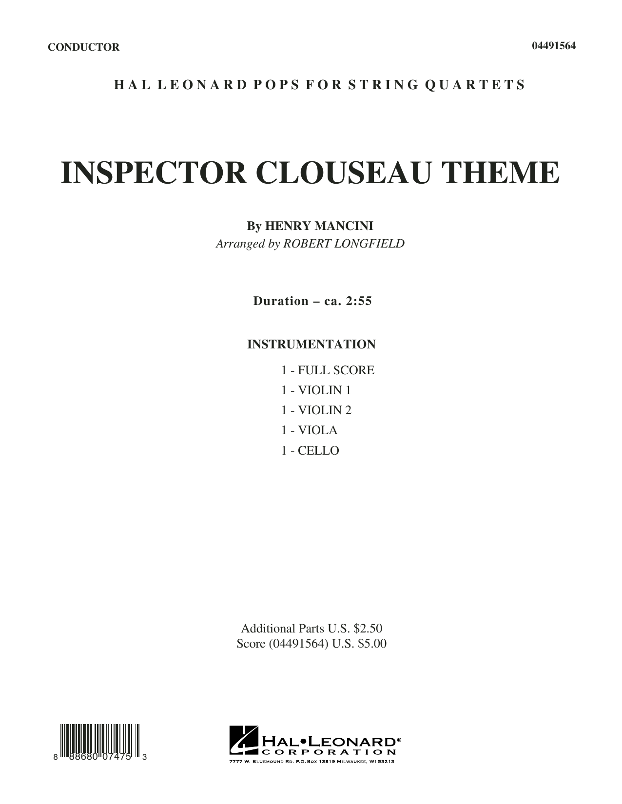 Robert Longfield Inspector Clouseau Theme (from The Pink Panther Strikes Again) - Conductor Score (Full Score) sheet music notes and chords. Download Printable PDF.