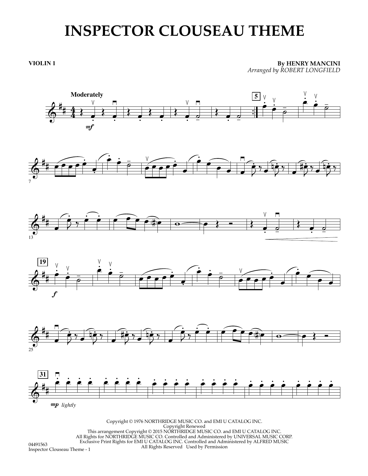 Robert Longfield Inspector Clouseau Theme (from The Pink Panther Strikes Again) - Violin 1 sheet music notes and chords. Download Printable PDF.