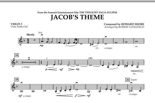 Robert Longfield Jacob's Theme (from The Twilight Saga: Eclipse) - Violin 3 (Viola Treble Clef) sheet music notes and chords. Download Printable PDF.