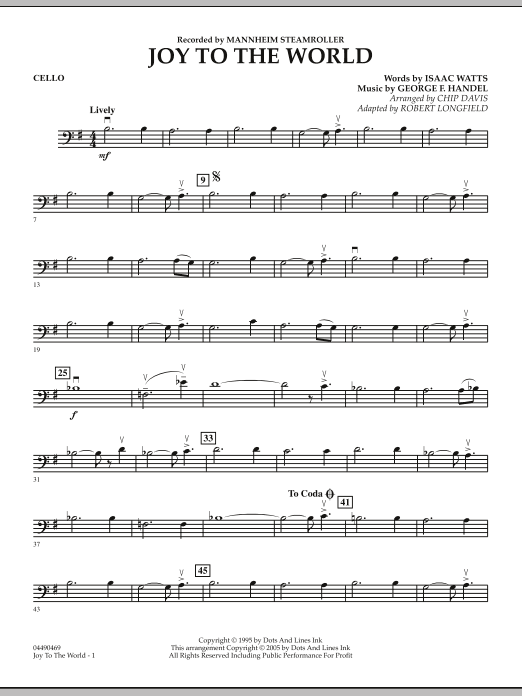 Robert Longfield Joy To The World - Cello sheet music notes and chords. Download Printable PDF.