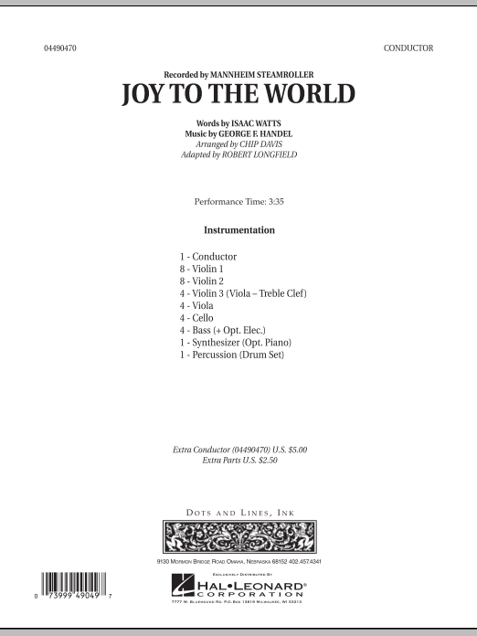 Robert Longfield Joy To The World - Conductor Score (Full Score) sheet music notes and chords. Download Printable PDF.
