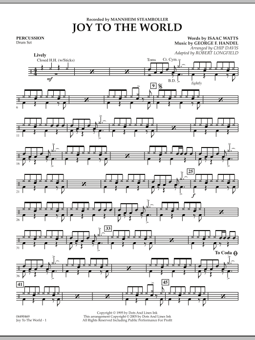 Robert Longfield Joy To The World - Percussion sheet music notes and chords. Download Printable PDF.