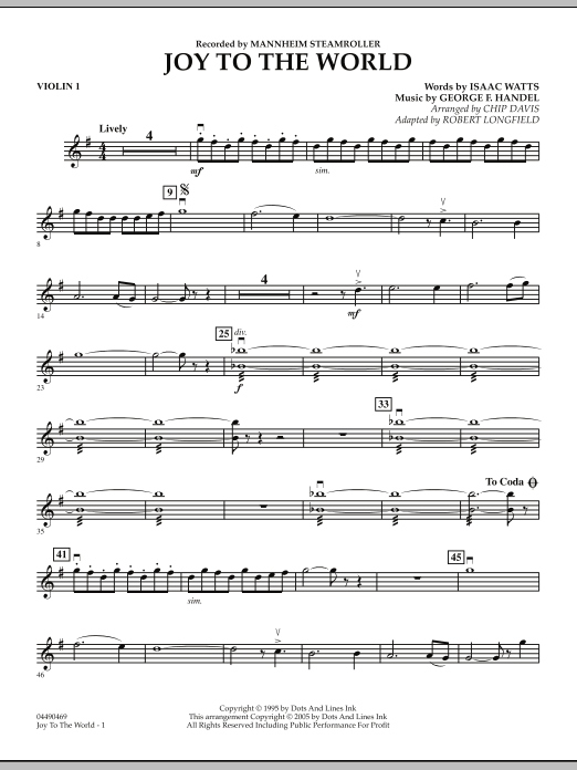 Robert Longfield Joy To The World - Violin 1 sheet music notes and chords. Download Printable PDF.