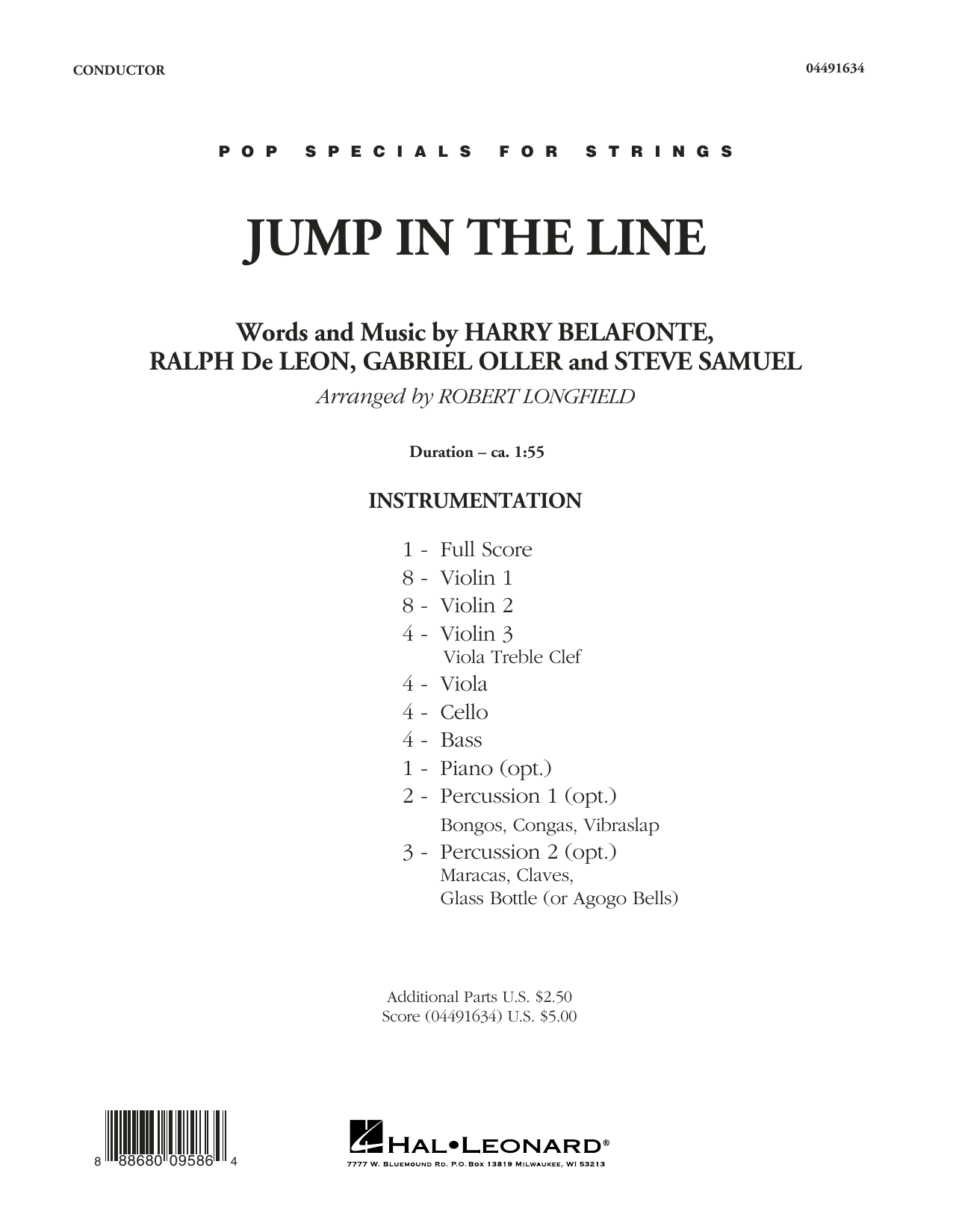 Robert Longfield Jump In The Line Conductor Score Full Score Sheet Music Pdf Notes Chords Calypso Score Orchestra Download Printable Sku 371524