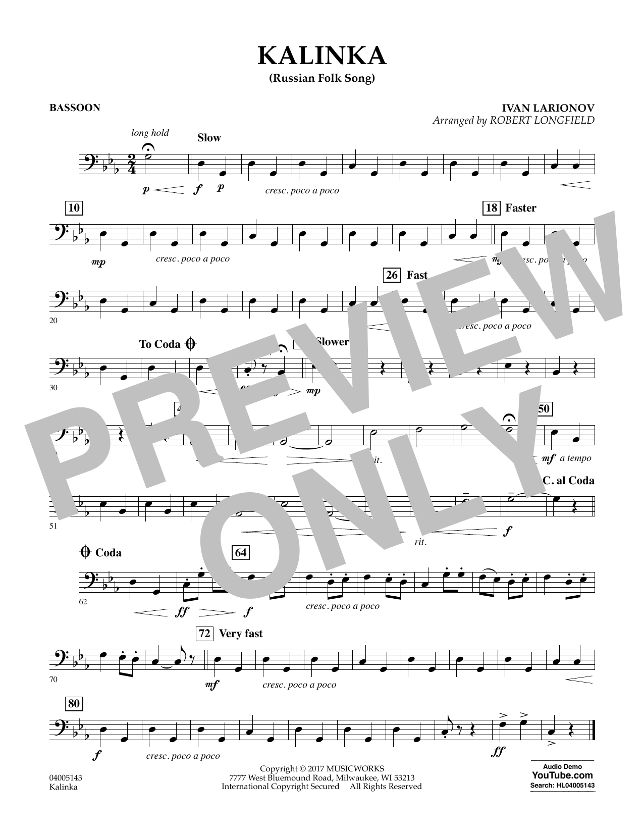 Robert Longfield Kalinka (Russian Folk Song) - Bassoon sheet music notes and chords. Download Printable PDF.