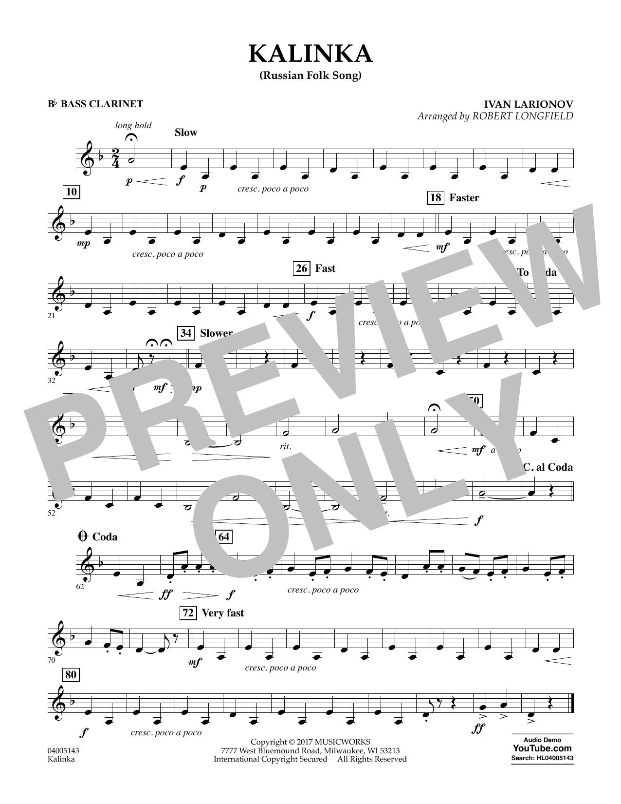 Robert Longfield Kalinka (Russian Folk Song) - Bb Bass Clarinet sheet music notes and chords. Download Printable PDF.