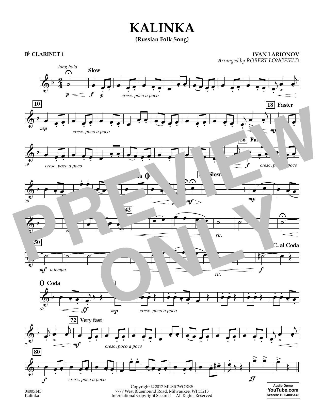 Robert Longfield Kalinka (Russian Folk Song) - Bb Clarinet 1 sheet music notes and chords. Download Printable PDF.