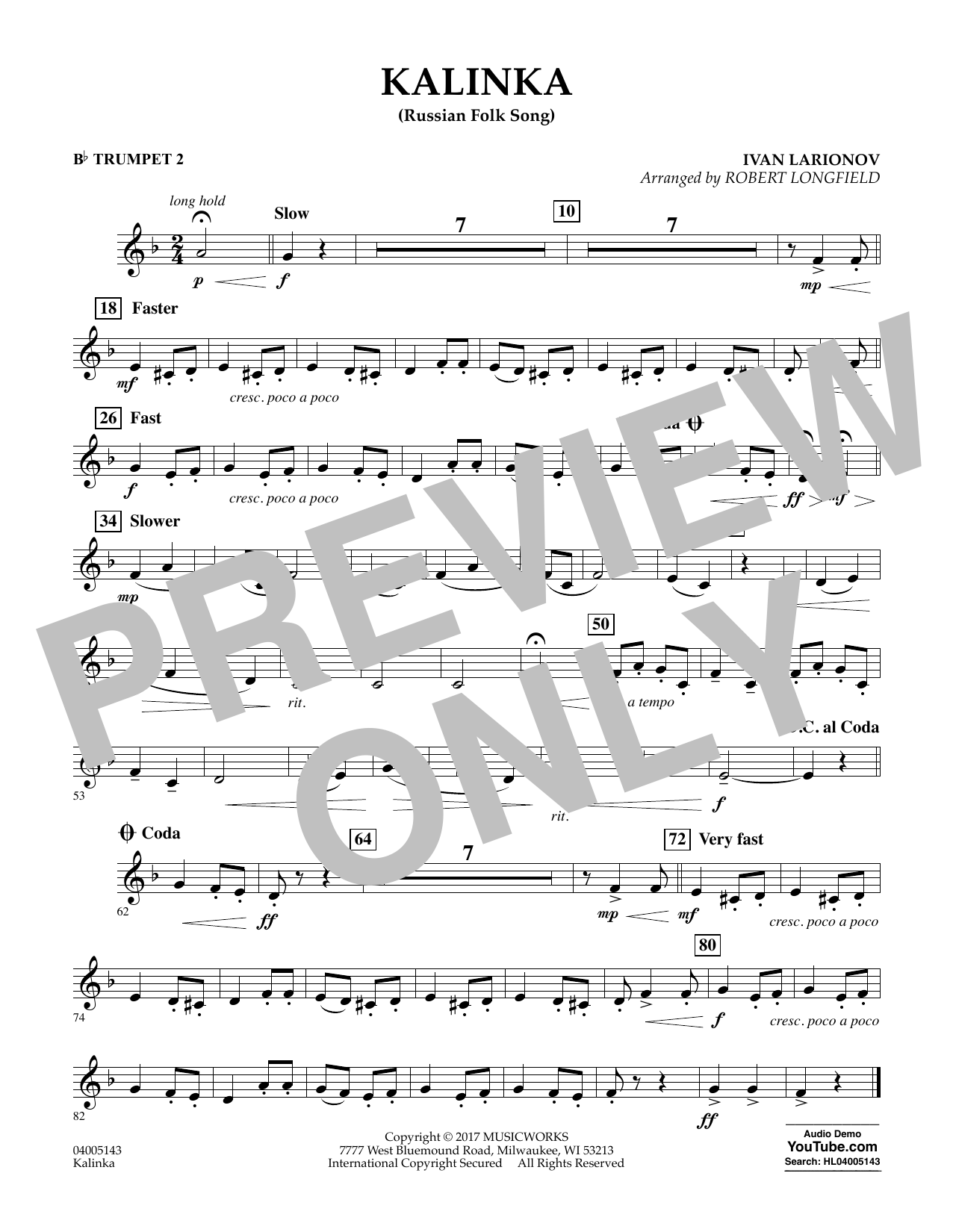 Robert Longfield Kalinka (Russian Folk Song) - Bb Trumpet 2 sheet music notes and chords. Download Printable PDF.