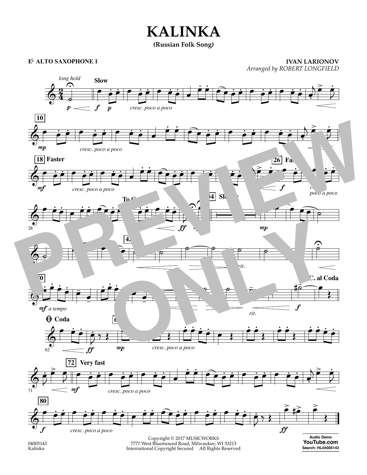 Robert Longfield Kalinka (Russian Folk Song) - Eb Alto Saxophone 1 sheet music notes and chords. Download Printable PDF.