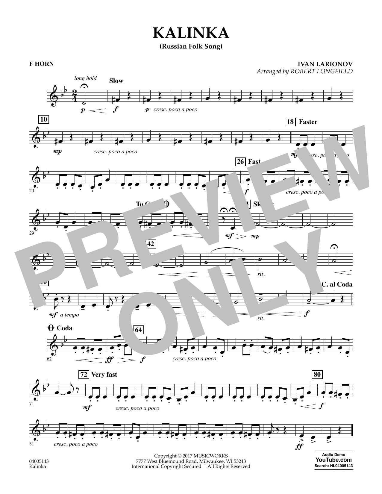 Robert Longfield Kalinka (Russian Folk Song) - F Horn sheet music notes and chords. Download Printable PDF.