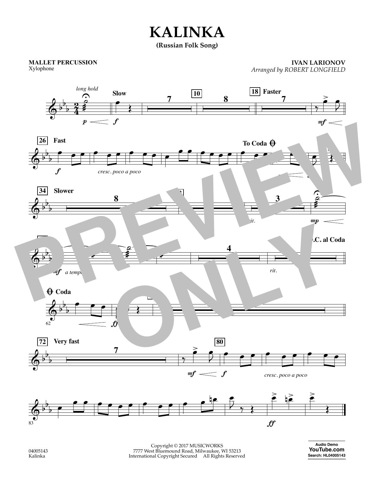 Robert Longfield Kalinka (Russian Folk Song) - Mallet Percussion sheet music notes and chords. Download Printable PDF.