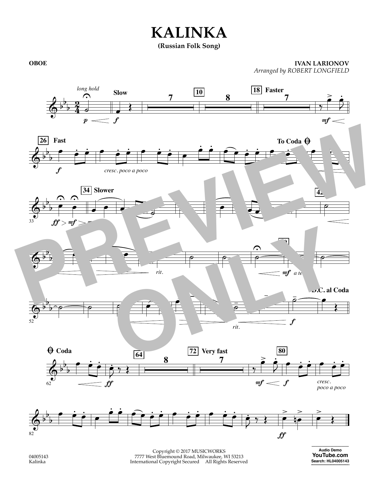 Robert Longfield Kalinka (Russian Folk Song) - Oboe sheet music notes and chords. Download Printable PDF.