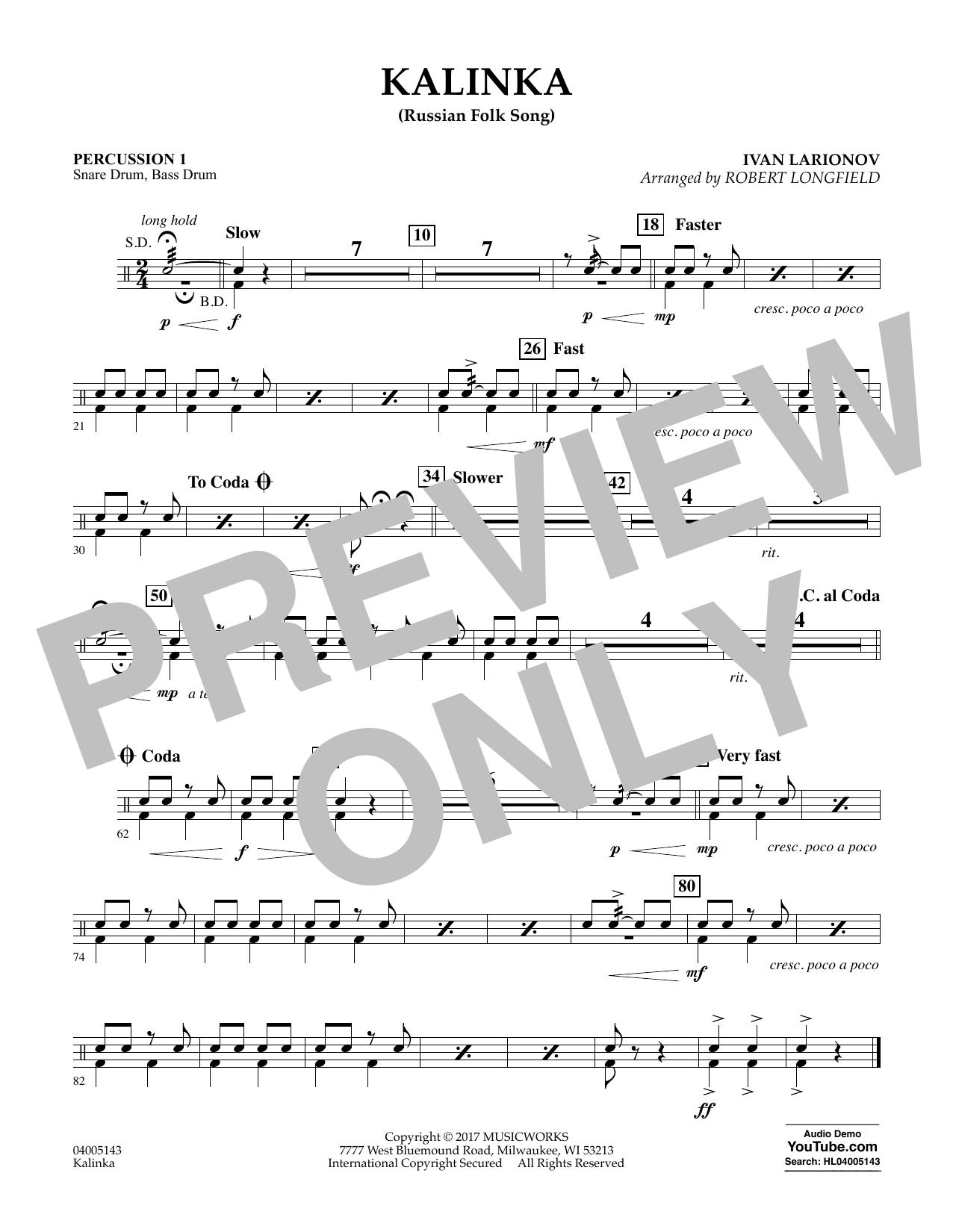 Robert Longfield Kalinka (Russian Folk Song) - Percussion 1 sheet music notes and chords. Download Printable PDF.