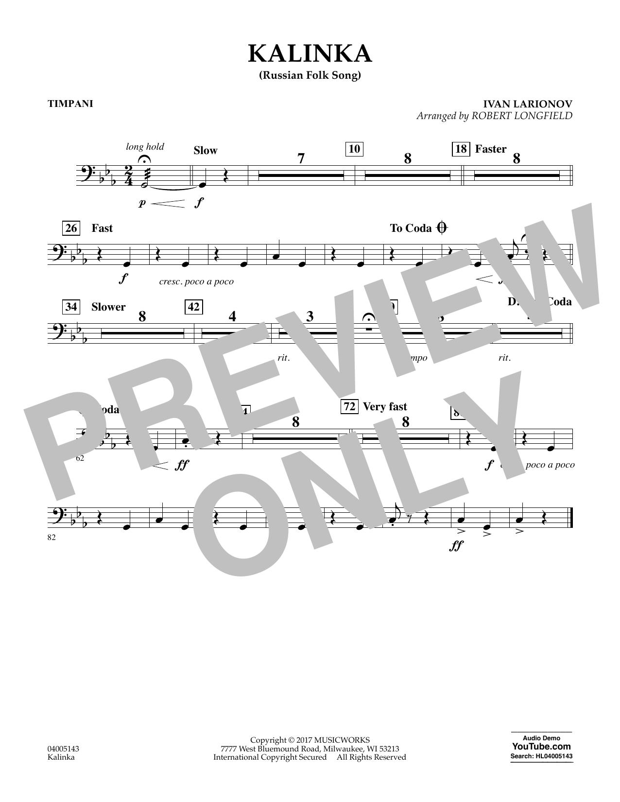 Robert Longfield Kalinka (Russian Folk Song) - Timpani sheet music notes and chords. Download Printable PDF.
