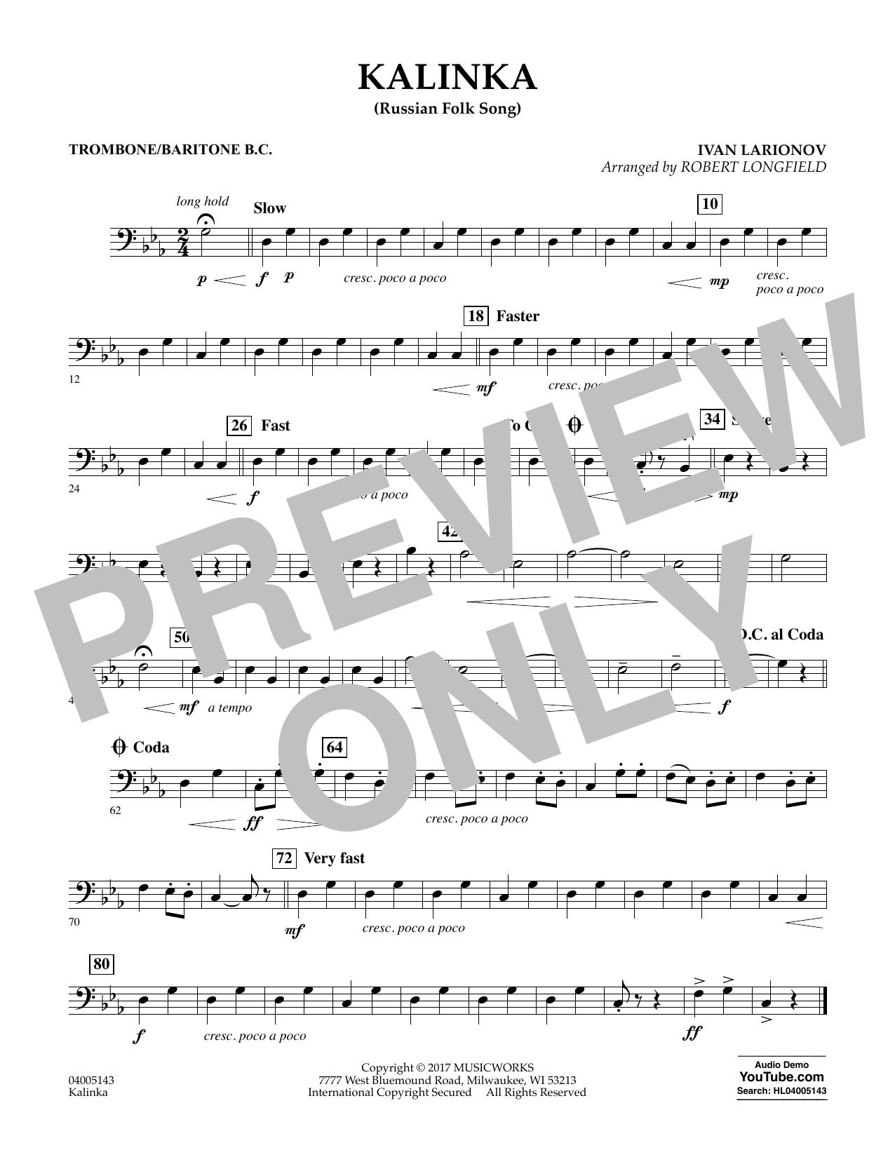 Robert Longfield Kalinka (Russian Folk Song) - Trombone/Baritone B.C. sheet music notes and chords. Download Printable PDF.