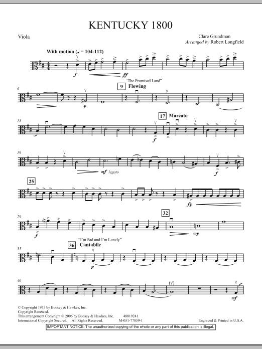 Robert Longfield Kentucky 1800 - Viola sheet music notes and chords. Download Printable PDF.