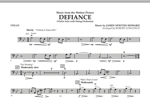 Robert Longfield Music from Defiance - Cello sheet music notes and chords. Download Printable PDF.