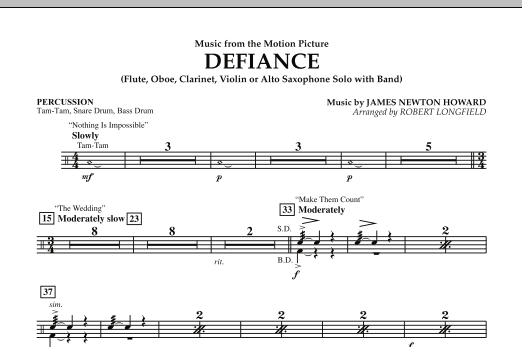 Robert Longfield Music from Defiance - Percussion sheet music notes and chords. Download Printable PDF.