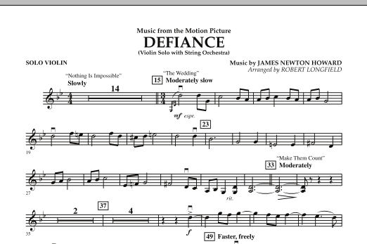 Robert Longfield Music from Defiance - Solo Violin sheet music notes and chords. Download Printable PDF.