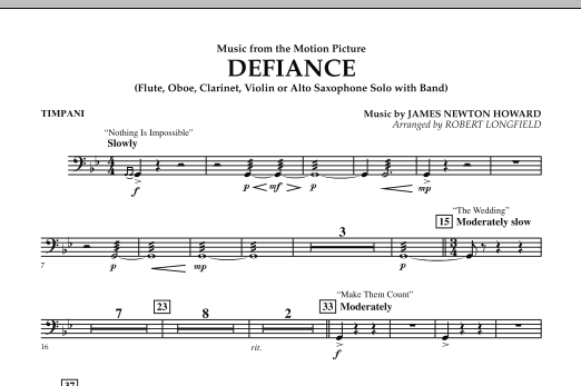 Robert Longfield Music from Defiance - Timpani sheet music notes and chords. Download Printable PDF.