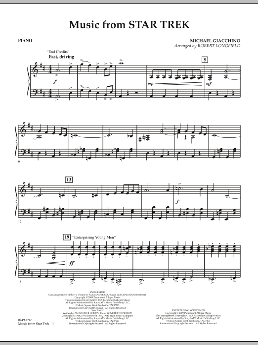 Robert Longfield Music from Star Trek - Piano sheet music notes and chords. Download Printable PDF.