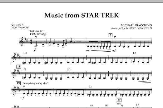 Robert Longfield Music from Star Trek - Violin 3 (Viola T.C.) sheet music notes and chords. Download Printable PDF.