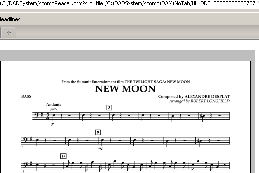 Robert Longfield New Moon (The Meadow) - Bass sheet music notes and chords. Download Printable PDF.