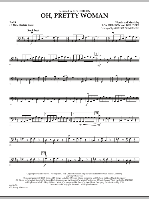 Robert Longfield Oh, Pretty Woman - Bass sheet music notes and chords. Download Printable PDF.