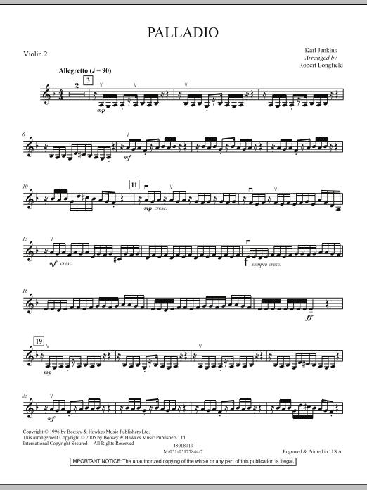 Robert Longfield Palladio - Violin 2 sheet music notes and chords. Download Printable PDF.