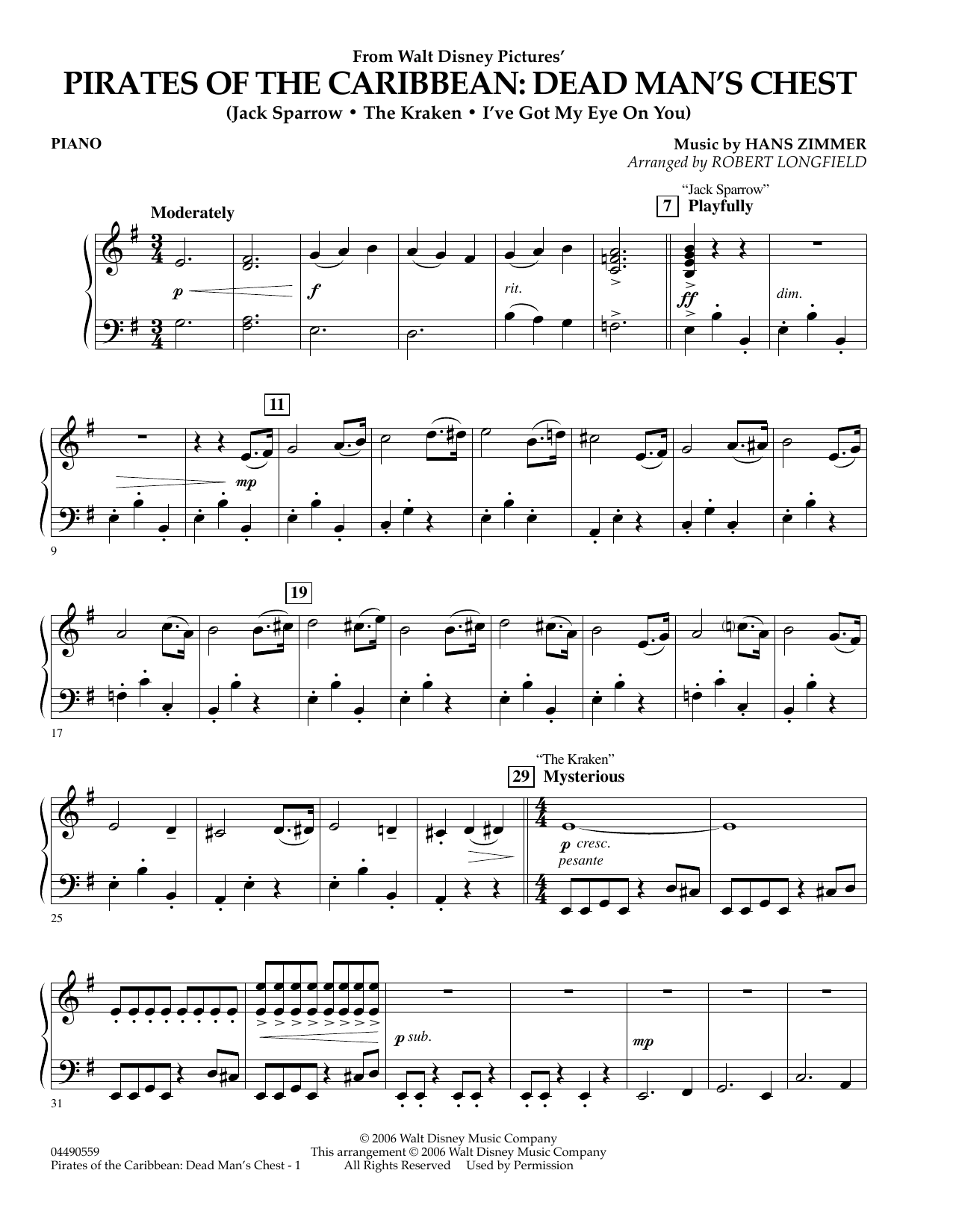 Robert Longfield Pirates Of The Caribbean Dead Man S Chest Piano Sheet Music Pdf Notes Chords Disney Score Orchestra Download Printable Sku 347857