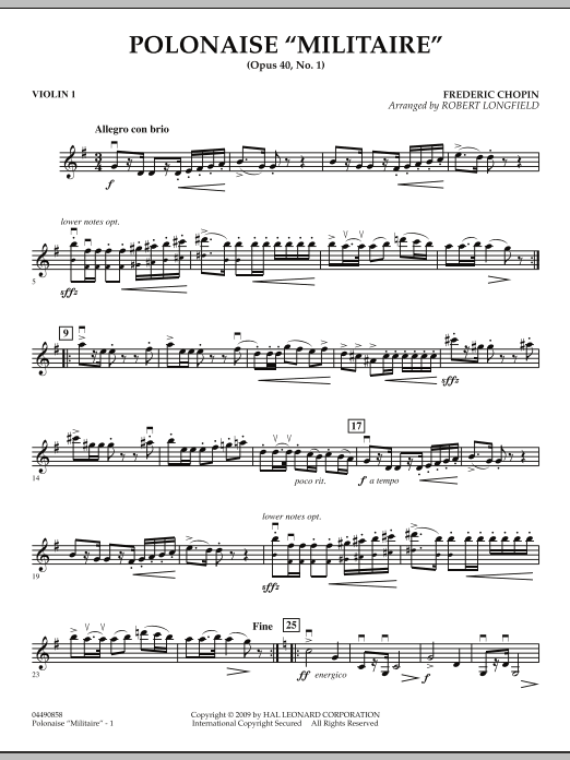Robert Longfield Polonaise Militaire - Violin 1 sheet music notes and chords. Download Printable PDF.