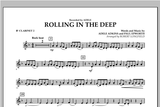 Robert Longfield Rolling in the Deep - Bb Clarinet 2 sheet music notes and chords. Download Printable PDF.
