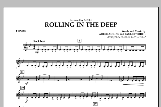 Robert Longfield Rolling in the Deep - F Horn sheet music notes and chords. Download Printable PDF.