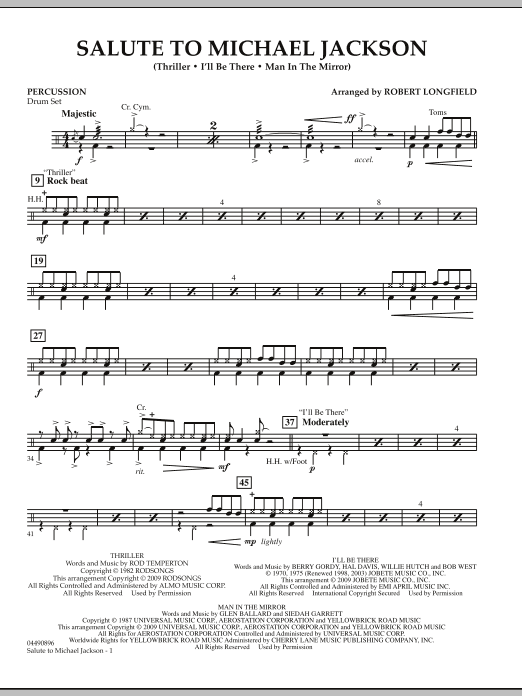 Robert Longfield Salute to Michael Jackson - Percussion sheet music notes and chords. Download Printable PDF.