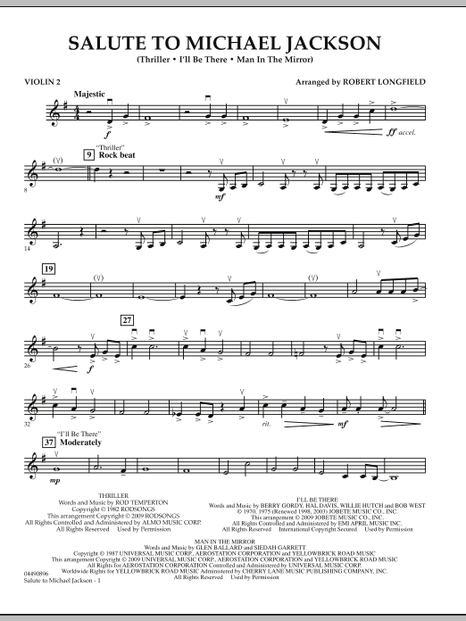 Robert Longfield Salute to Michael Jackson - Violin 2 sheet music notes and chords. Download Printable PDF.