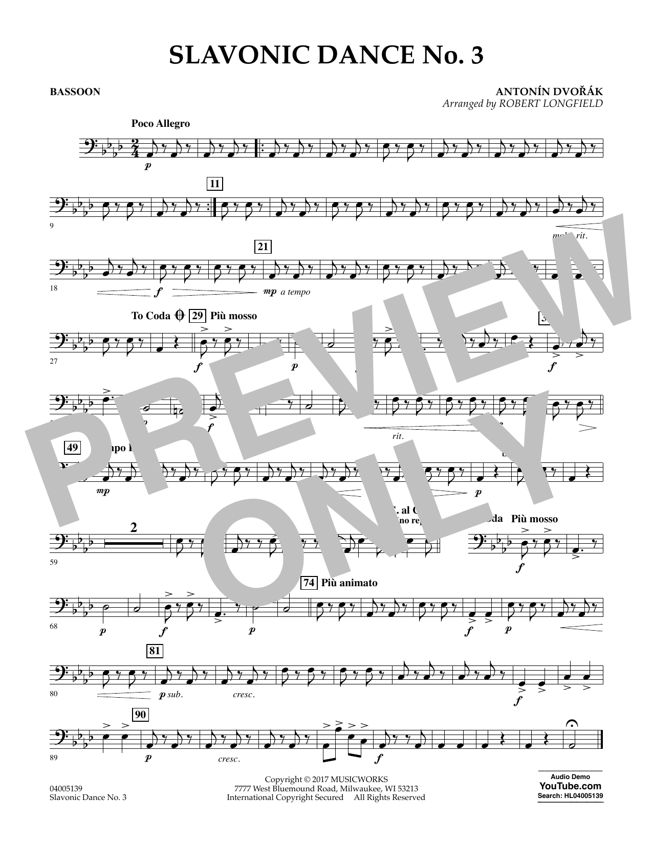 Robert Longfield Slavonic Dance No. 3 - Bassoon sheet music notes and chords. Download Printable PDF.