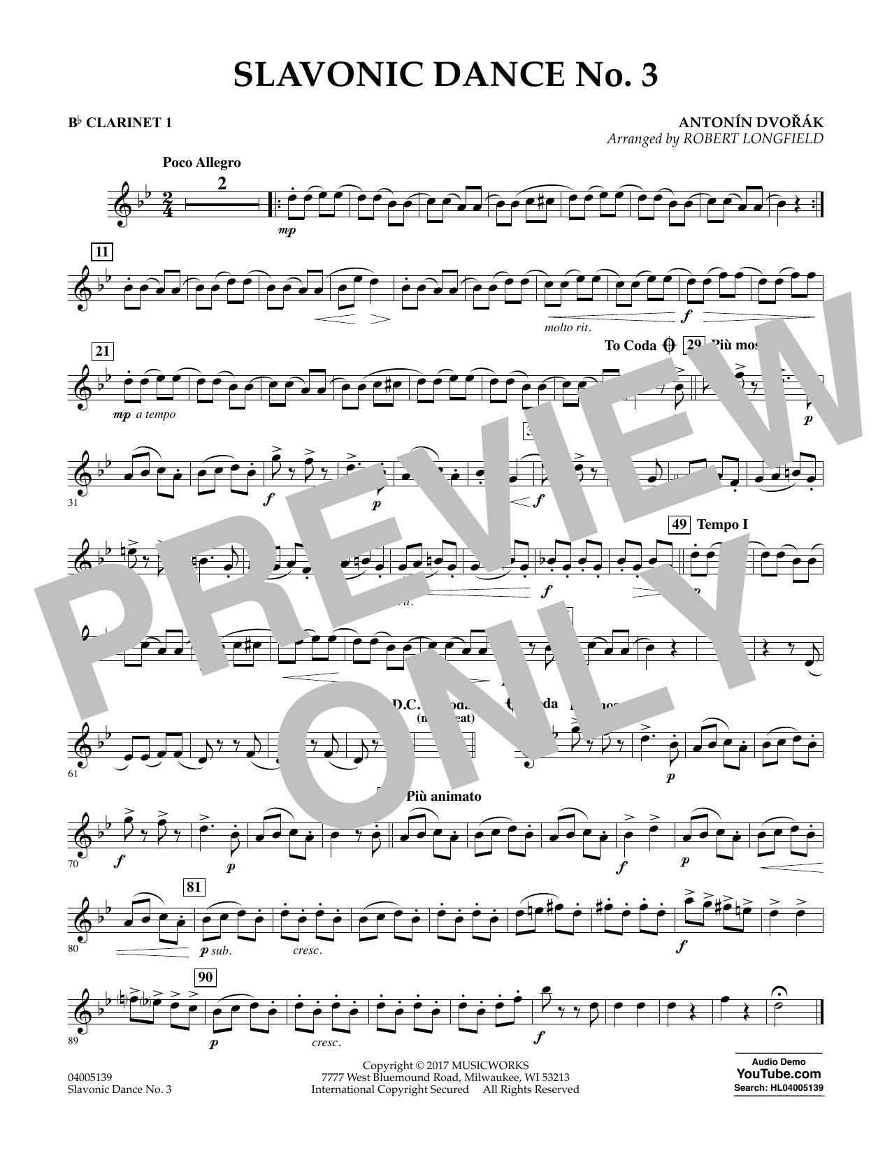 Robert Longfield Slavonic Dance No. 3 - Bb Clarinet 1 sheet music notes and chords. Download Printable PDF.