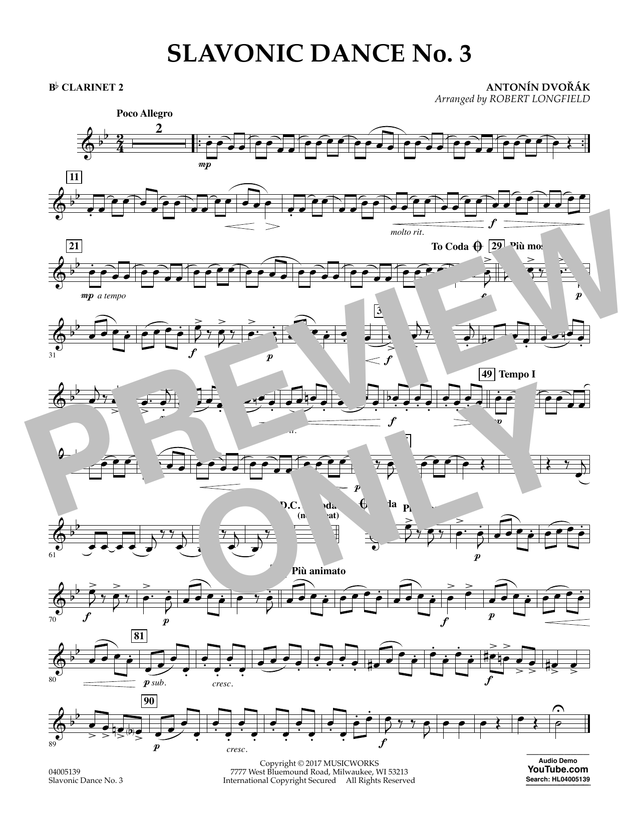 Robert Longfield Slavonic Dance No. 3 - Bb Clarinet 2 sheet music notes and chords. Download Printable PDF.