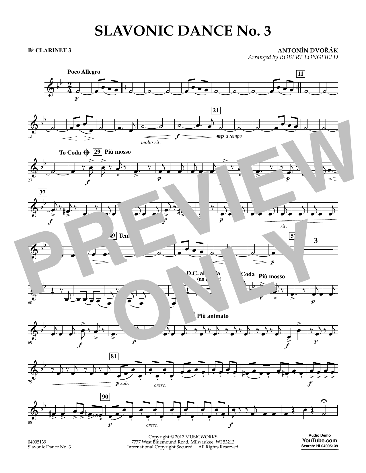 Robert Longfield Slavonic Dance No. 3 - Bb Clarinet 3 sheet music notes and chords. Download Printable PDF.