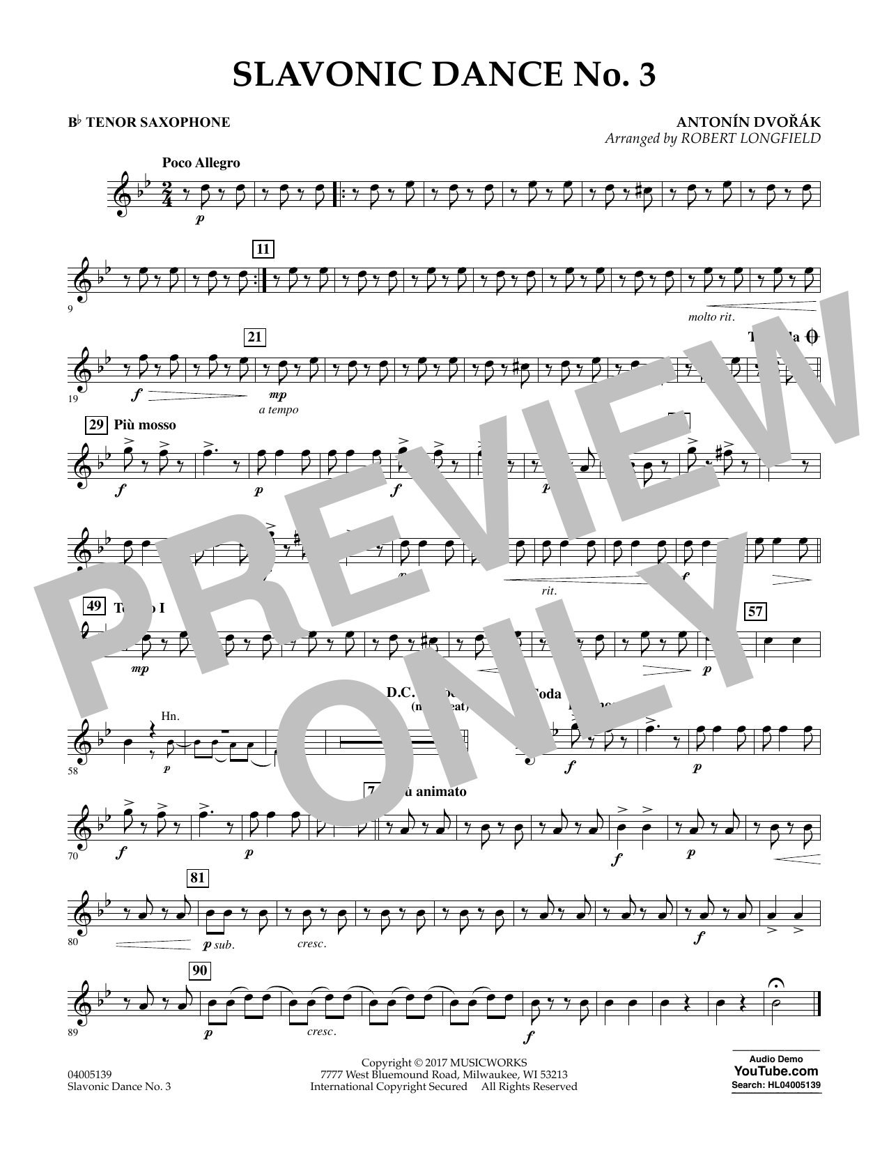 Robert Longfield Slavonic Dance No. 3 - Bb Tenor Saxophone sheet music notes and chords. Download Printable PDF.