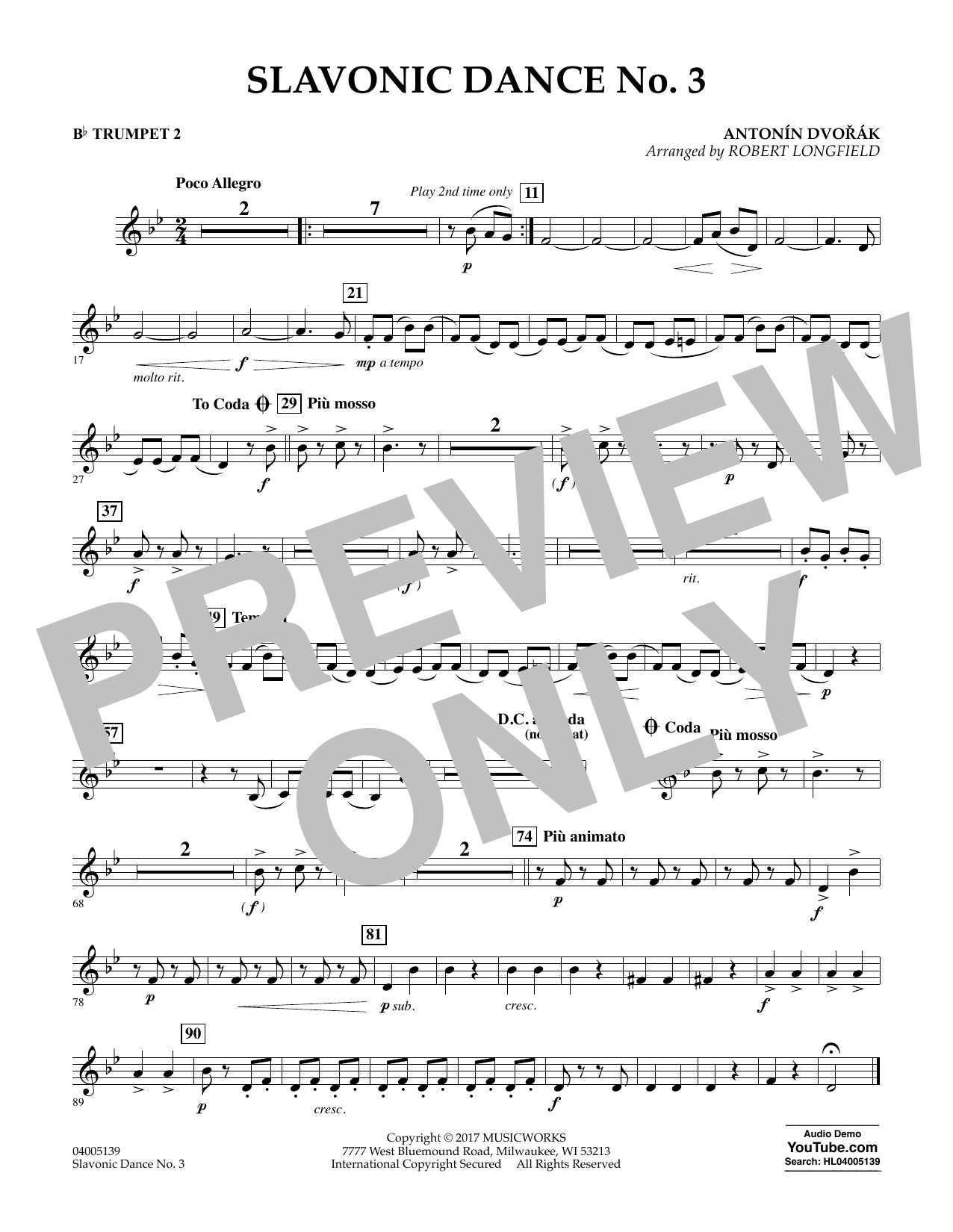 Robert Longfield Slavonic Dance No. 3 - Bb Trumpet 2 sheet music notes and chords. Download Printable PDF.