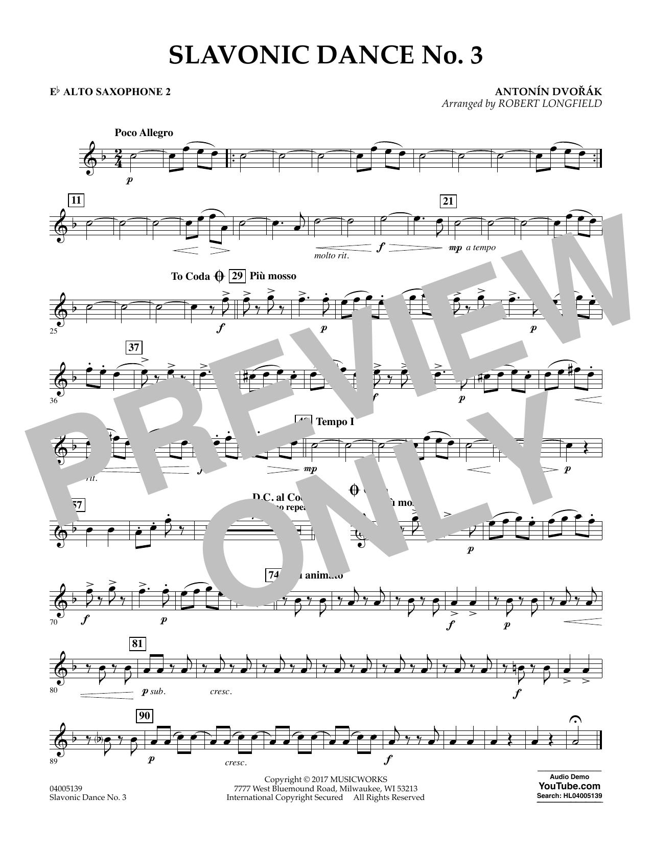 Robert Longfield Slavonic Dance No. 3 - Eb Alto Saxophone 2 sheet music notes and chords. Download Printable PDF.