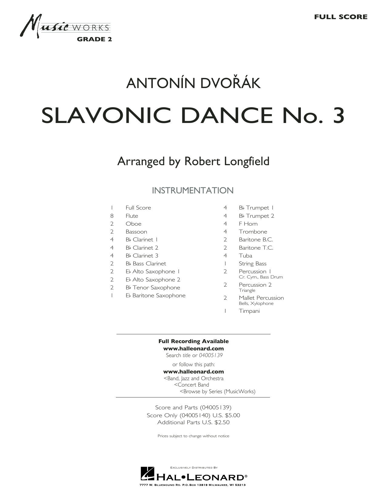 Robert Longfield Slavonic Dance No. 3 - Full Score sheet music notes and chords. Download Printable PDF.