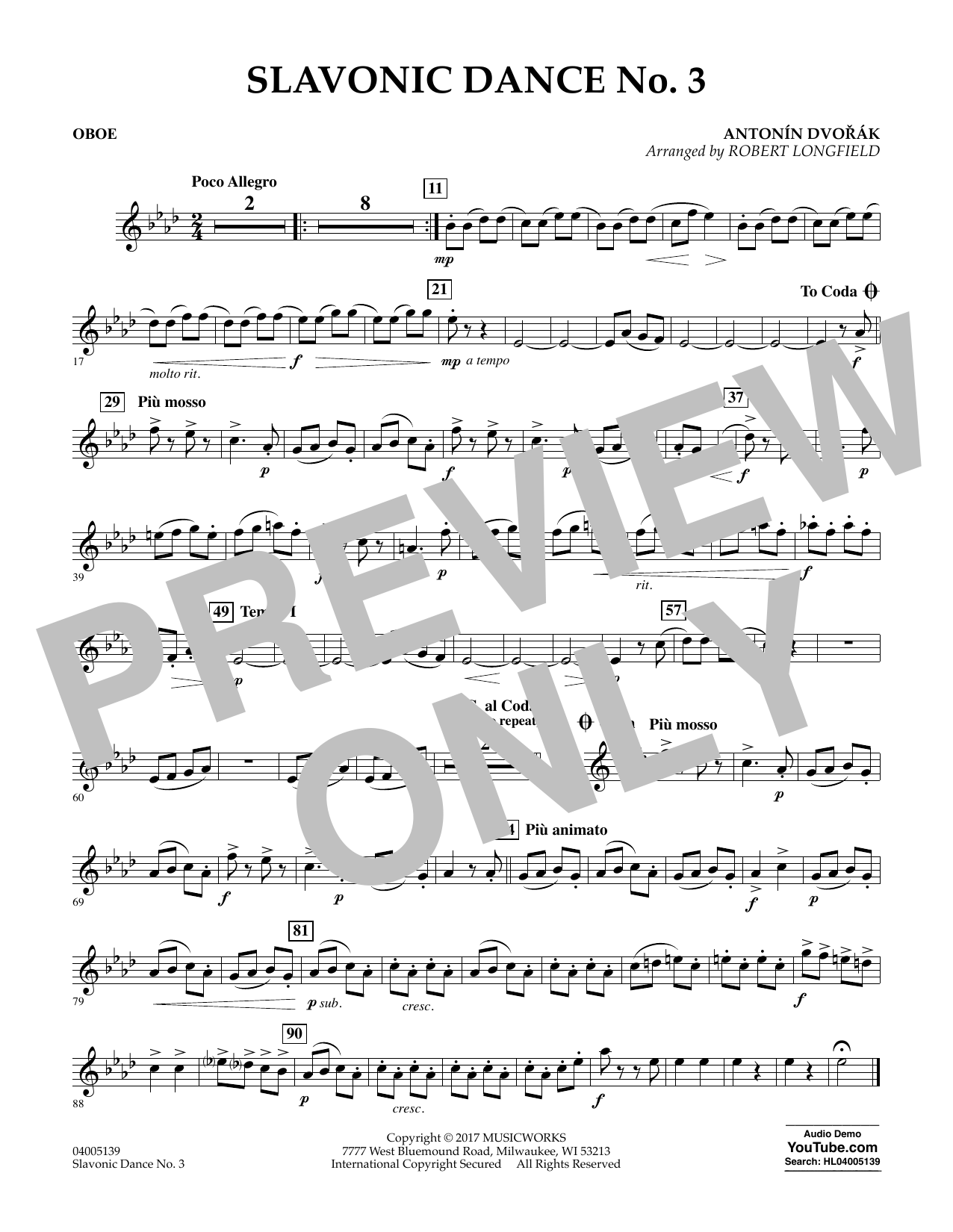 Robert Longfield Slavonic Dance No. 3 - Oboe sheet music notes and chords. Download Printable PDF.